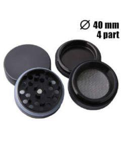 Zwarte Grinder Aluminium 4parts 40mm