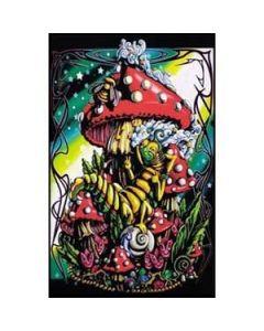 Blacklight Poster Mushroom Caterpilar