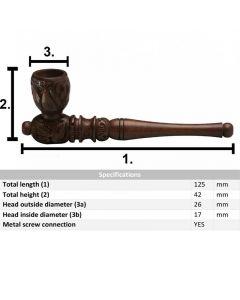 Houten Kickhole Wietpijp 13cm