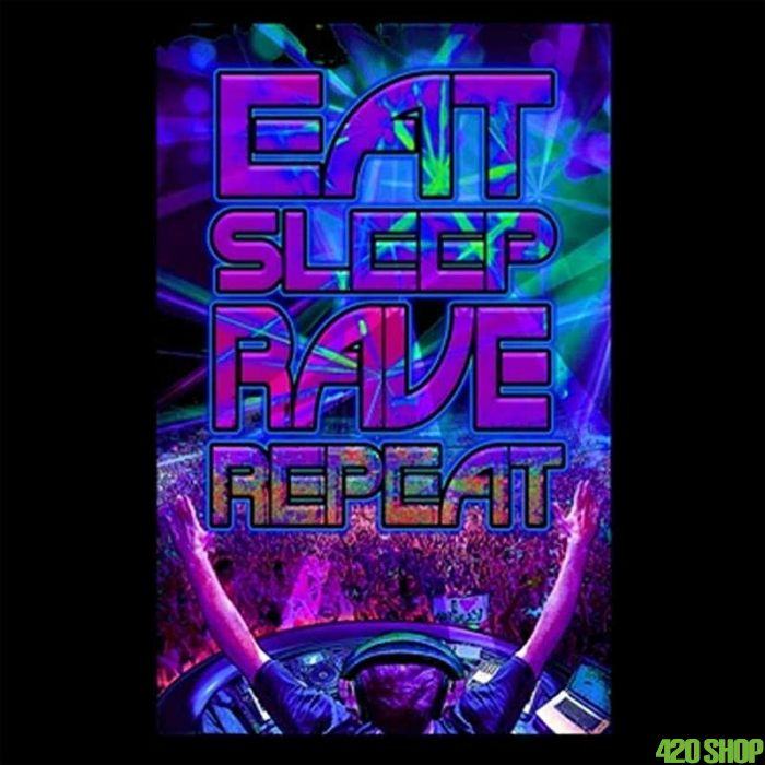 Blacklight Poster Eat Sleep Rave